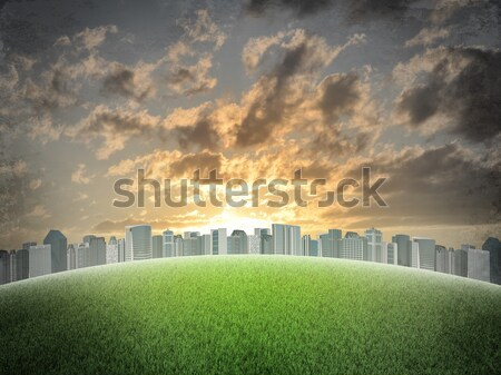 Abstract triangle background with man approaching city Stock photo © cherezoff