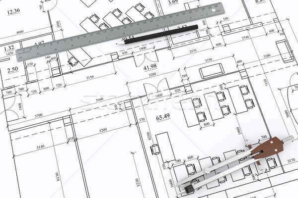 Engineering tekening brieven heerser lijnen Stockfoto © cherezoff