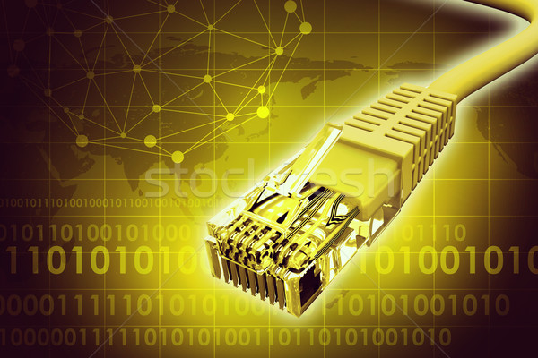 Złoty kabel komputerowy streszczenie żółty mapie świata Zdjęcia stock © cherezoff