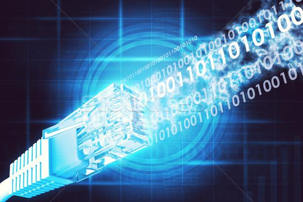 Kabel komputerowy streszczenie niebieski mapie świata komputera Zdjęcia stock © cherezoff