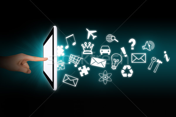 Humans hands touching tablet Stock photo © cherezoff