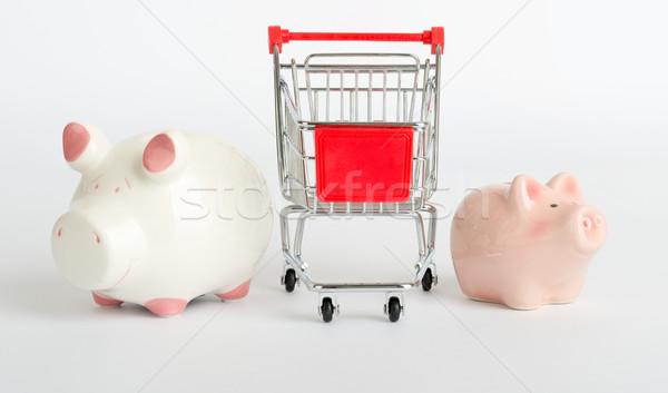 Bevásárlókocsi malac bankok izolált fehér oldalnézet Stock fotó © cherezoff