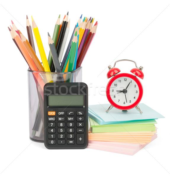 Zsírkréták ébresztőóra számológép ceruza csésze izolált Stock fotó © cherezoff