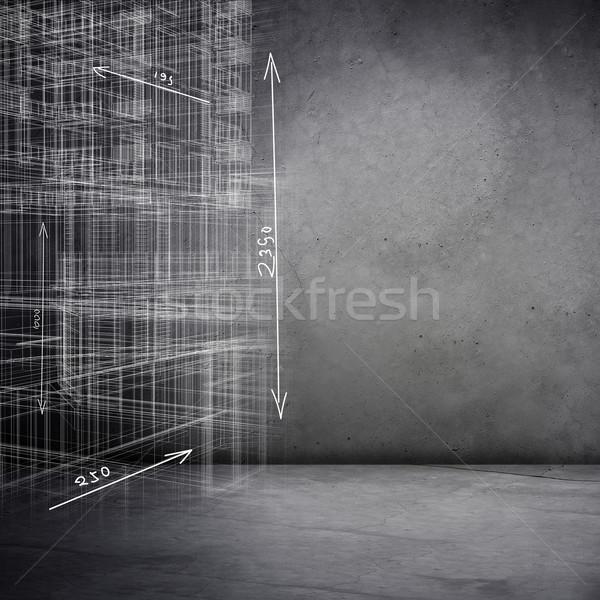 Grijs 3D model schets huis Stockfoto © cherezoff