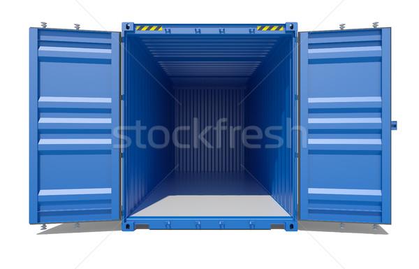 Blau öffnen Versandkosten Container 3D Rendering Stock foto © cherezoff