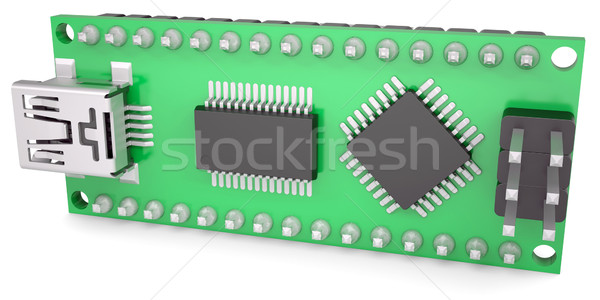 Stock photo: Computer board with chips and USB output