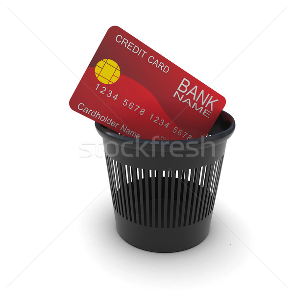 Credit card in a black trash. 3D rendering Stock photo © cherezoff