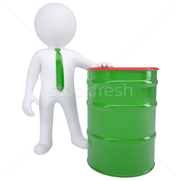 3d white man and a green barrel Stock photo © cherezoff