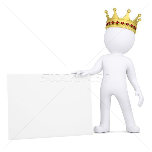 O homem 3d coroa cartão de visita 3D homem branco Foto stock © cherezoff