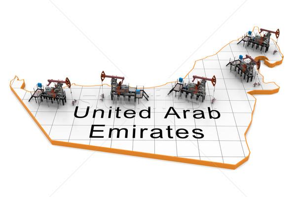 Yağ harita Birleşik Arap Emirlikleri dünya toprak imzalamak Stok fotoğraf © cherezoff