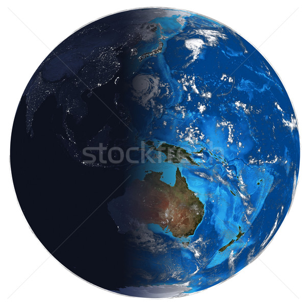 Photorealistic Earth. Day and night Stock photo © cherezoff
