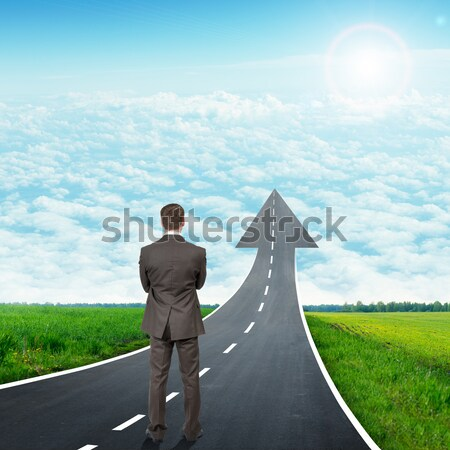 Businessman and road climbs up Stock photo © cherezoff