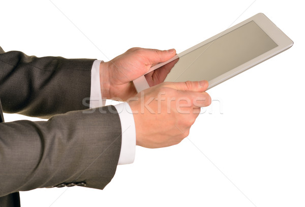 Empresário digital comprimido isolado Foto stock © cherezoff