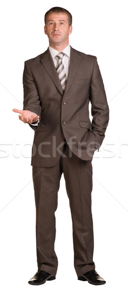 Businessman holding hand up in front of him Stock photo © cherezoff