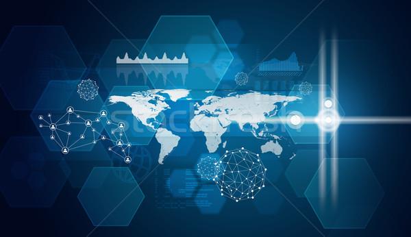 Stock photo: Hexagons, world map and glow circles