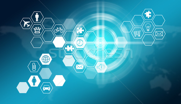 Stock photo: Hexagons with icons and glow circles