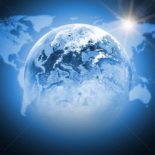 Niebieski ziemi świecie kontynenty przezroczysty mapie świata Zdjęcia stock © cherezoff