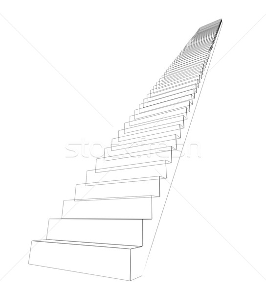 Wire-frame stairs leading up. Isolated Stock photo © cherezoff