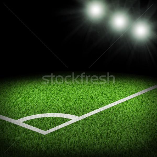 Hoek stadion heldere voetbal sport groene Stockfoto © cherezoff
