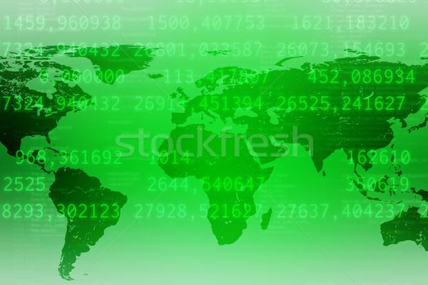 Absztrakt zöld világtérkép számok Stock fotó © cherezoff