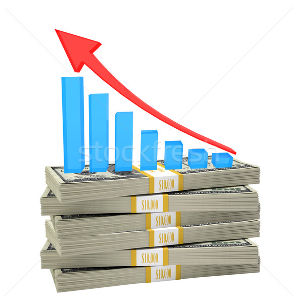 Growth graph on stack of money Stock photo © cherezoff