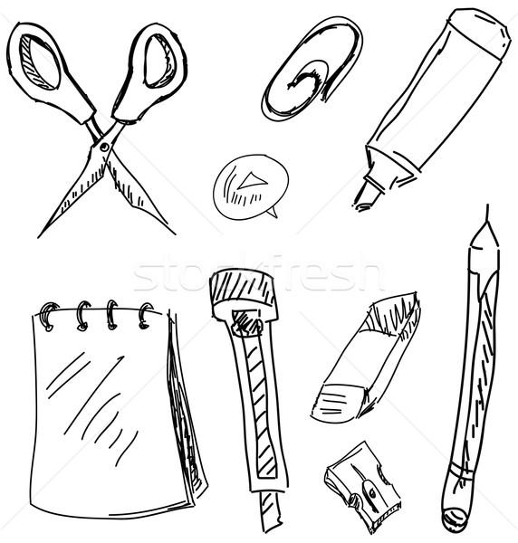 канцтовары белый изолированный клипа карандашом Сток-фото © cherezoff