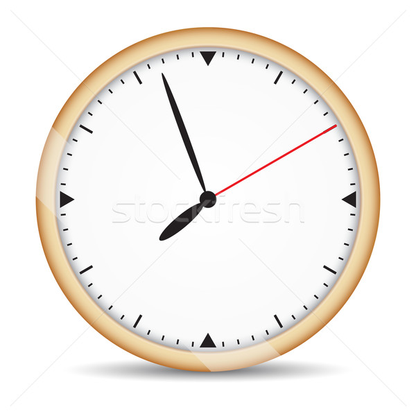 Round clock with brown frame and red second hand Stock photo © cherezoff