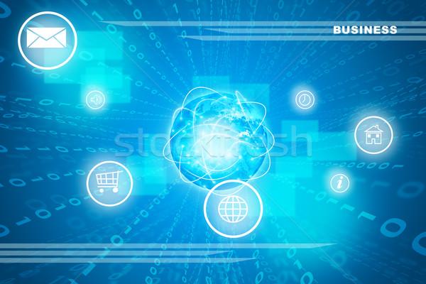 Stockfoto: Abstract · Blauw · nummers · verschillend · symbolen