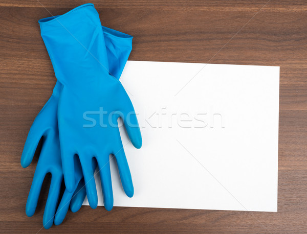 Leeres Papier Gummihandschuhe Holztisch Papier weiß Blatt Stock foto © cherezoff