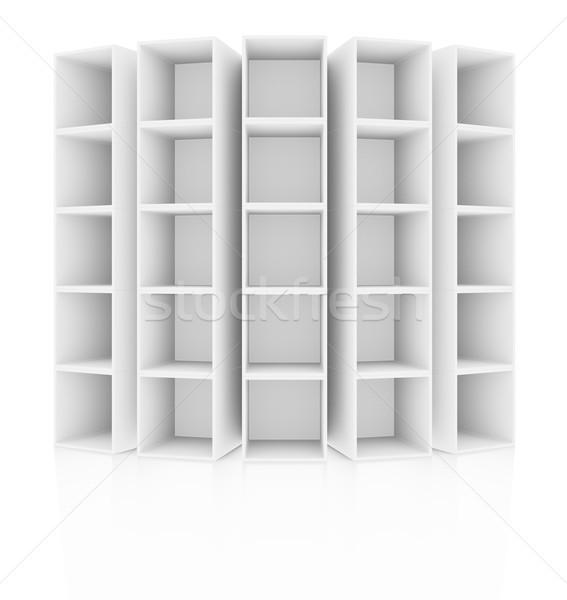 Pusty biały półka na książki odizolowany 3D Zdjęcia stock © cherezoff