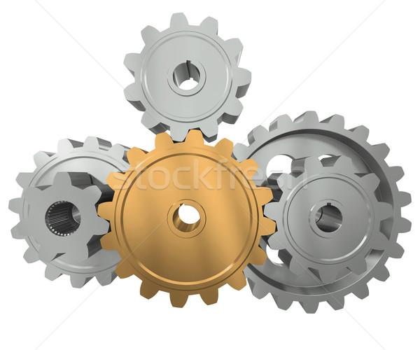 ストックフォト: グループ · 歯車 · シンボル · リーダー · チームワーク · ビジネス