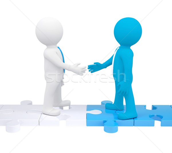Two 3d people shaking hands Stock photo © cherezoff