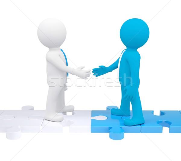 Dwa 3d osób drżenie rąk odizolowany oddać biały Zdjęcia stock © cherezoff