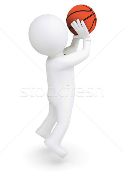 3d white human ready to throw a basketball Stock photo © cherezoff