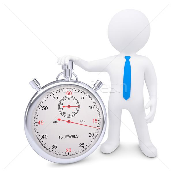 Stok fotoğraf: Beyaz · adam · Metal · kronometre · yalıtılmış · vermek · beyaz