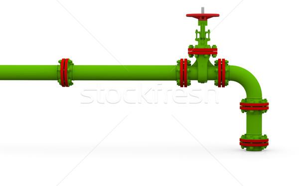 Green pipe and valve Stock photo © cherezoff