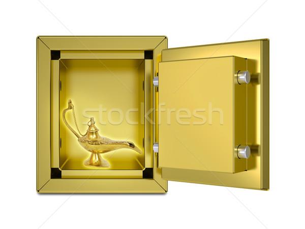 Mágikus lámpa nyitva széf izolált render Stock fotó © cherezoff