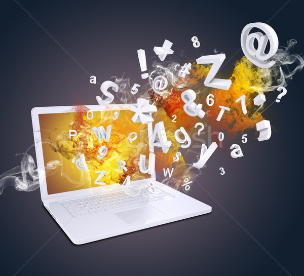 Stock photo: Laptop emits letters, numbers and smoke