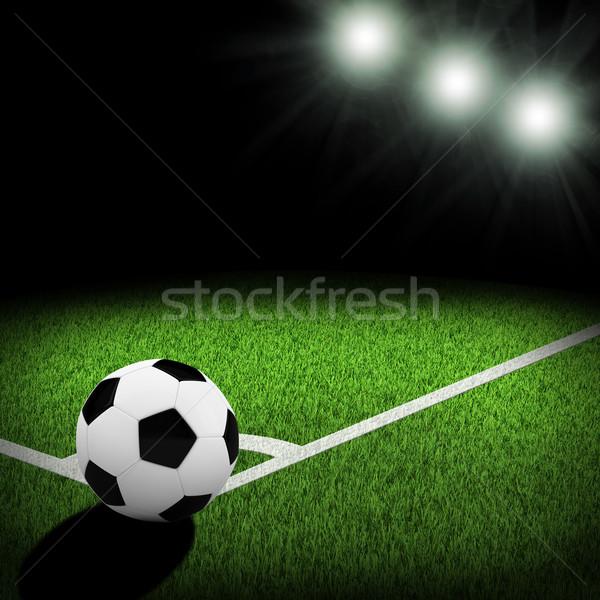éjszaka futball aréna megvilágított labda sarok Stock fotó © cherezoff