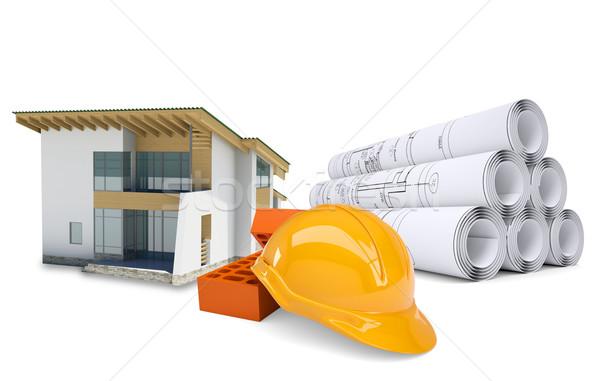 ストックフォト: 小 · モデル · 家 · 建築の · 図面