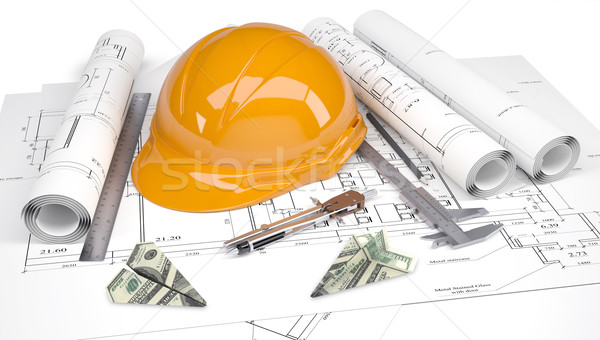 Hard hat, calipers, dollars folded in paper planes, architectural drawings Stock photo © cherezoff