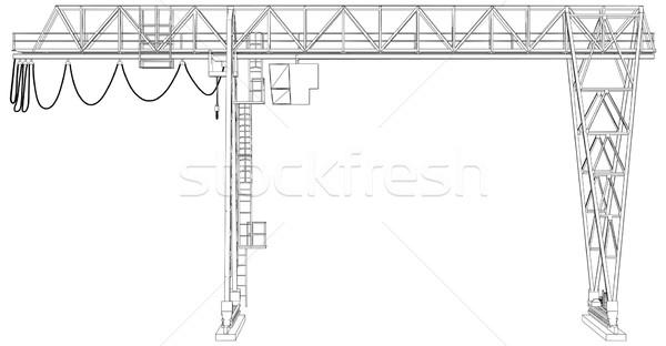 Foto stock: Guindaste · wireframe · vetor · 3D · eps10