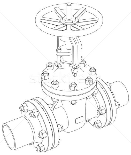 Industrial valve. Vector rendering of 3d Stock photo © cherezoff