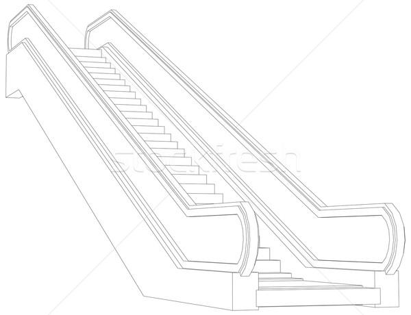 Kroki yürüyen merdiven 3D merdiven beyaz Stok fotoğraf © cherezoff