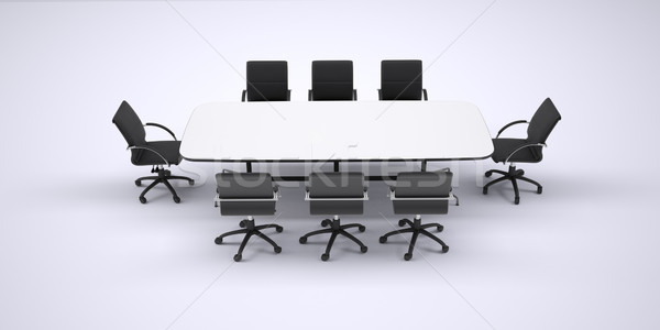 Conference table and eight black office chairs Stock photo © cherezoff