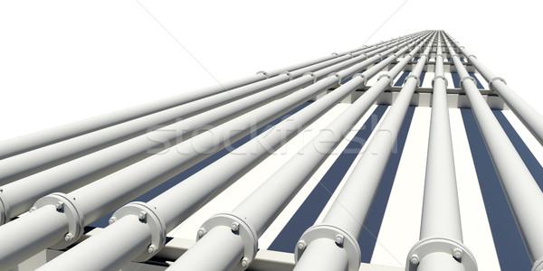 Wiele przemysłowych rur dystans odizolowany Zdjęcia stock © cherezoff