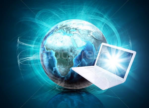 Föld pára laptop absztrakt kék elemek Stock fotó © cherezoff