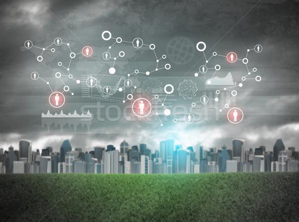 Városkép holografikus képernyő virtuális ikonok piros Stock fotó © cherezoff