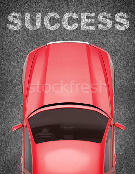 Car on grey texture background with word Stock photo © cherezoff