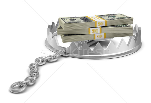 Stack of money in bear trap on white Stock photo © cherezoff